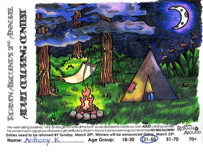 2016 ULTIMATE COLORING CHAMPION -- COLORED PAGE WITH TENT, CAMPFIRE, & HAMMOCK