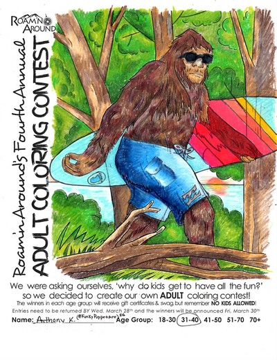 2018 ULTIMATE COLORING CHAMPION -- COLORED PAGE WITH SASQUATCH IN THE WOODS