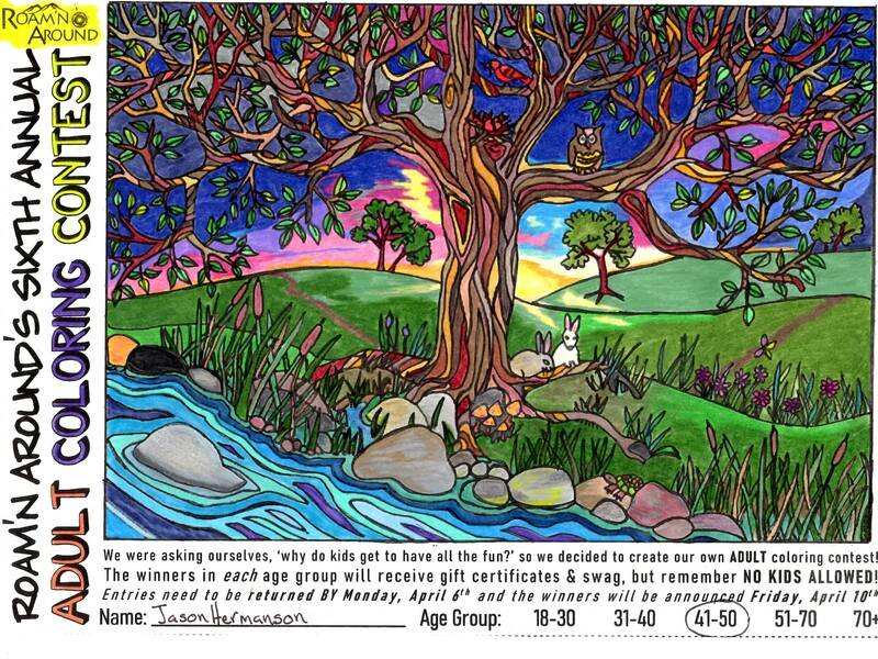 2020 ULTIMATE COLORING CHAMPION -- COLORED PAGE WITH STREAM, TREE, ANIMALS, AND ROLLING HILLS
