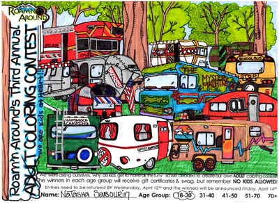 2017 ULTIMATE COLORING CHAMPION -- COLORED PAGE WITH VARIOUS MODELS OF CAMPERVANS