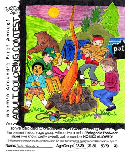 2015 ULTIMATE COLORING CHAMPION -- COLORED PAGE WITH PEOPLE AROUND CAMPFIRE, TENTS, & BEAR